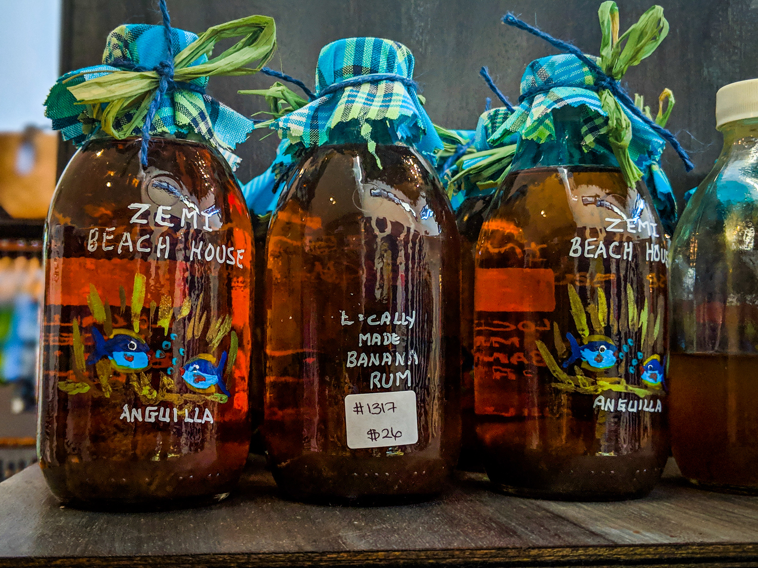 Anguilla food souvenirs include banana rum from hotel gift shops.