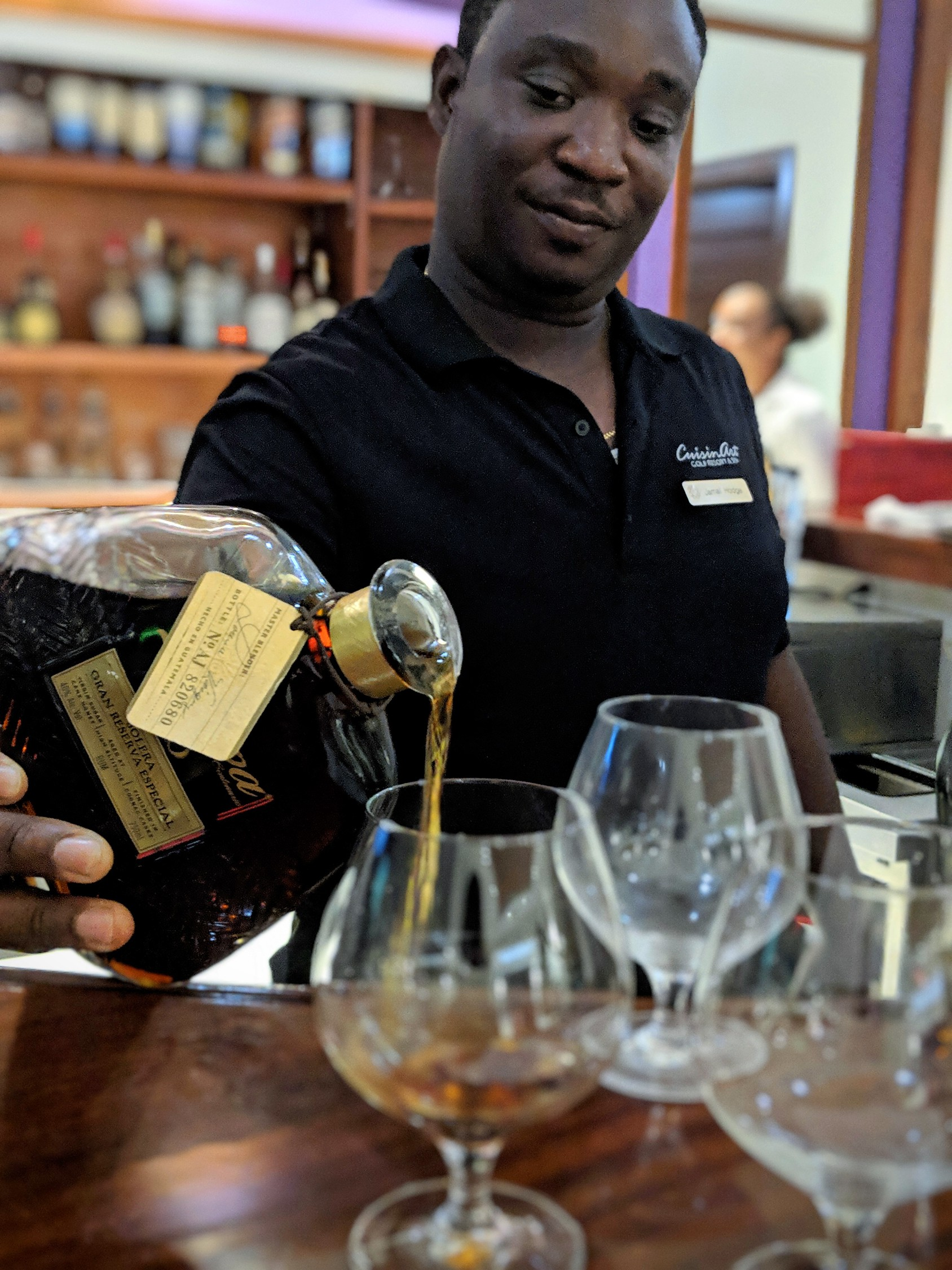 Rum tasting with Jamal Hodge at CuisinArt bar.