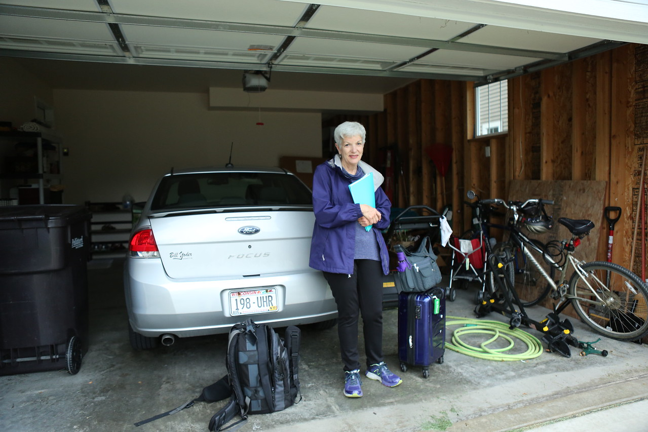 Sarah packed and ready to go - our ride to the USA Coach is coming soon