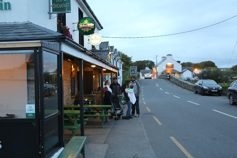 Dusk outside Doolin pub.