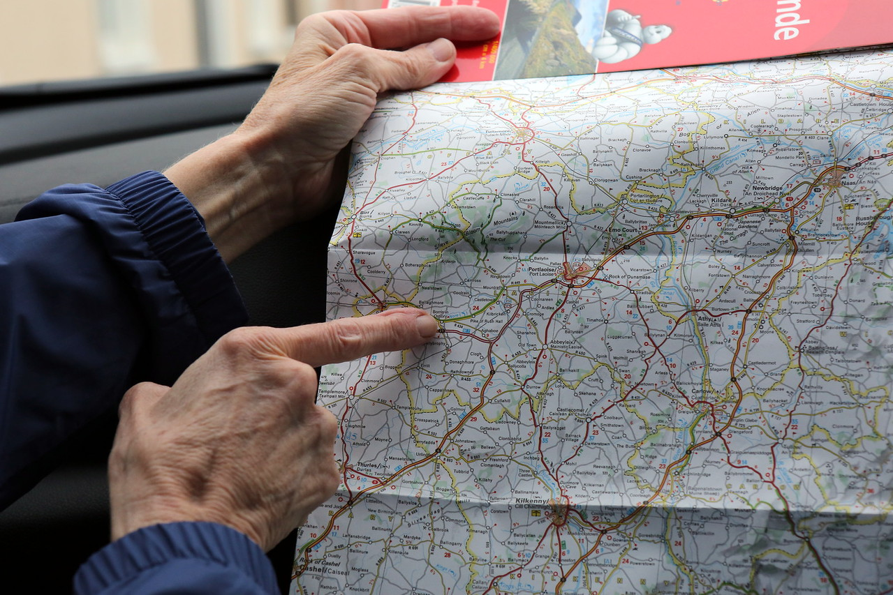 Our Navigator & Research Guide Anita marks the location of Borris-in-Ossory