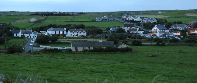 Doolin at dusk from higher on the hill