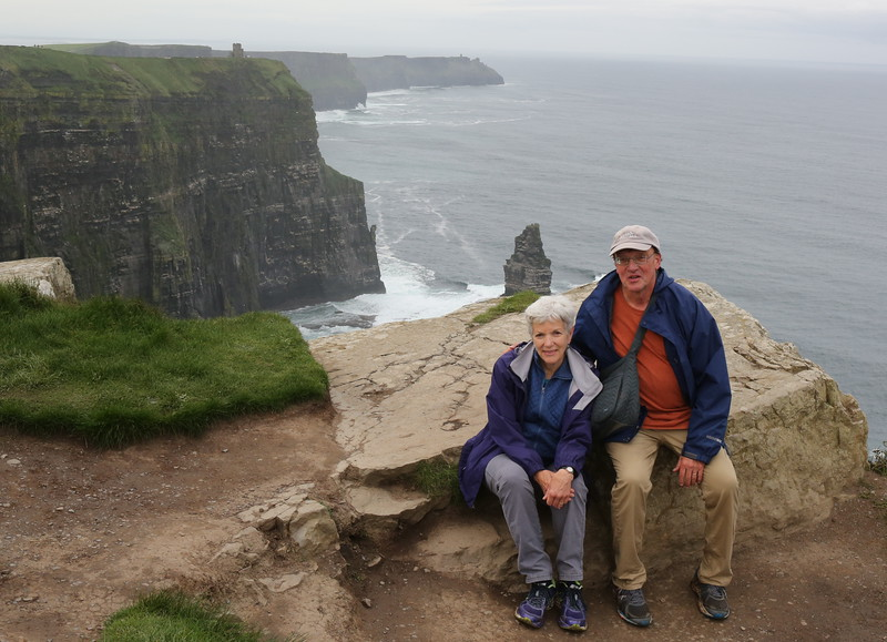 Sarah and Kent with the Cliffs of Moher in the background