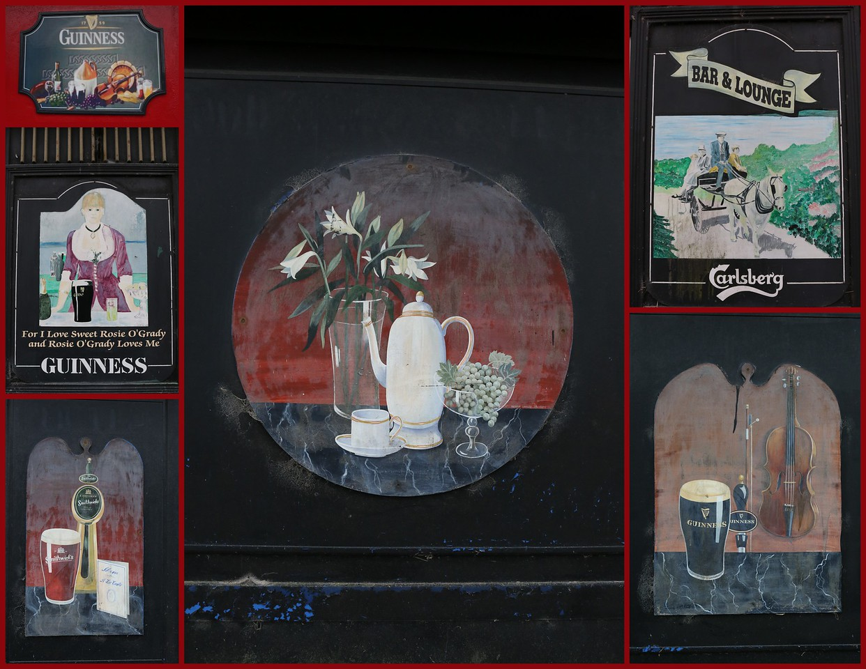 Collage made from separate hand painted signs from the exterior of the Leix County Hotel