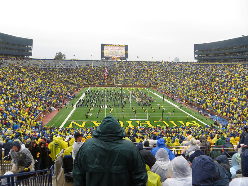Attending the Michigan-Illinois football game in Michigan Stadium on October 13, 2012.  It was a miserable, cold, rainy day.  I managed to take a few pictures before it started raining hard.