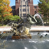 """Sunday Morning in Deep Waters"" by Carl Milles.  Located on Ingalls Mall between Burton Tower and the Michigan League (in the background), it is one of my favorite places on campus.  It depicts Father Triton and his sons playing in the ocean."