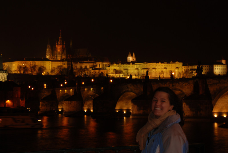 Anna near the Water at night in Prague 1