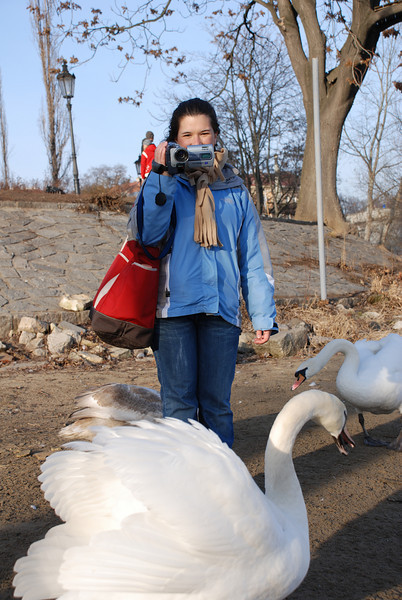 Anna and Swans in Prague 2