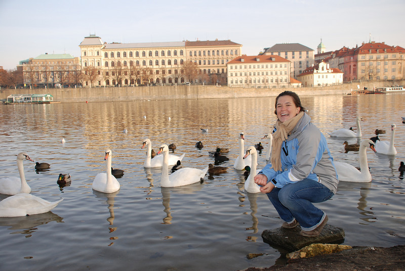 Anna and Swans in Prague 16
