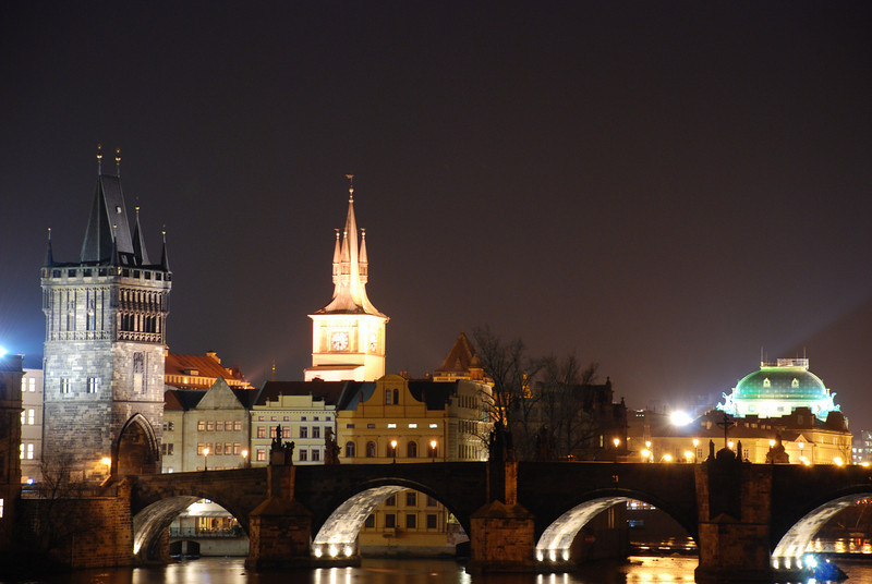 Prague Night Scene Near Water 1