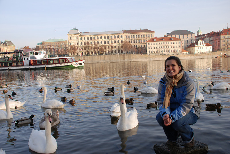 Anna and Swans in Prague 13