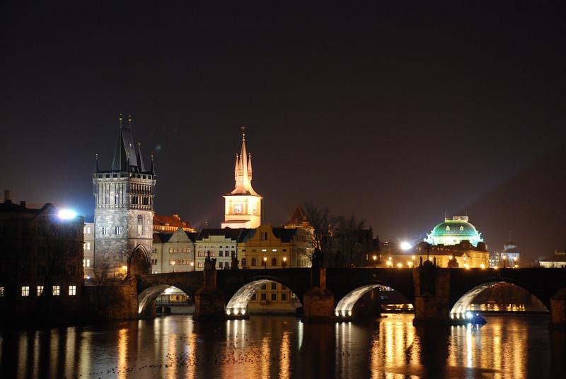 Prague Night Scene Near Water 2