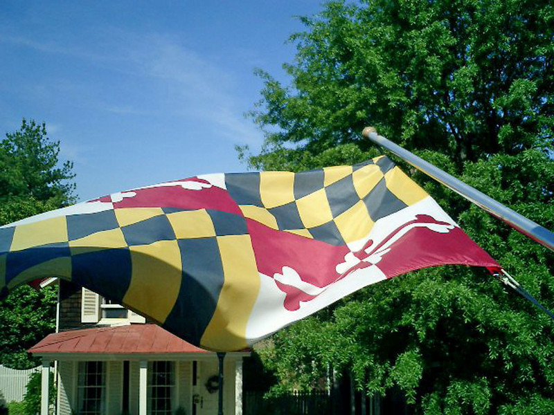 The Maryland state flag flying at the Inn at Easton.