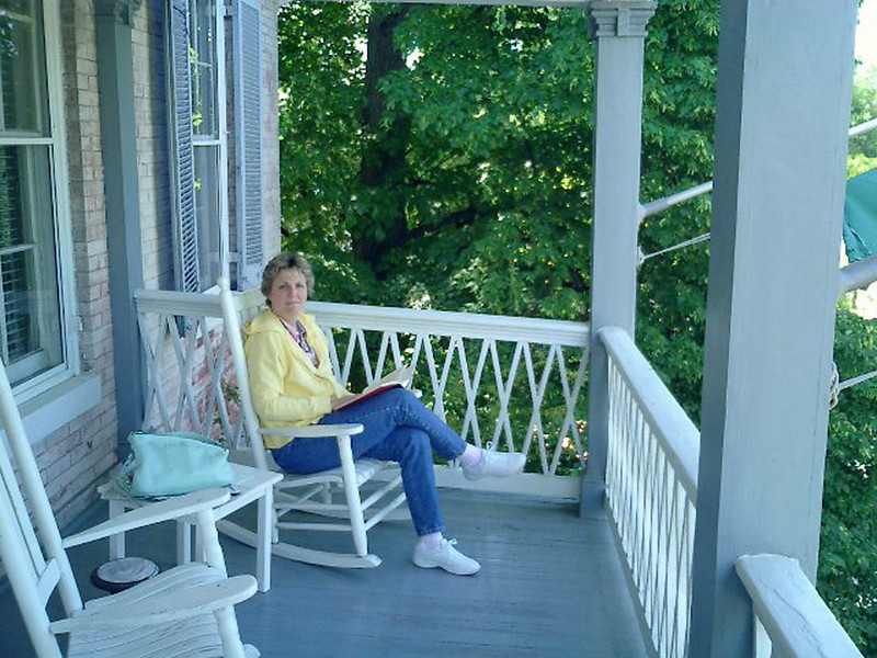 Jean on the balcony at Inn at Easton.