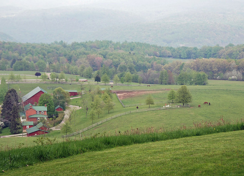 The Hagan family farm is in the valley below the Frank Lloyd Wright house.