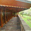The rear patio of Kentuck Knob.  The living room is on the left.  Kitchen/dining area is straight ahead.