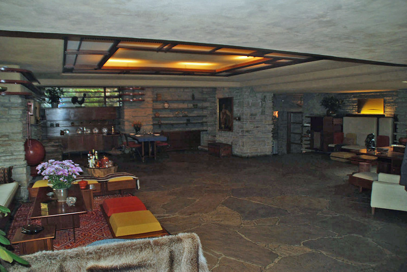 The living room at Frank Lloyd Wright's Fallingwater.
