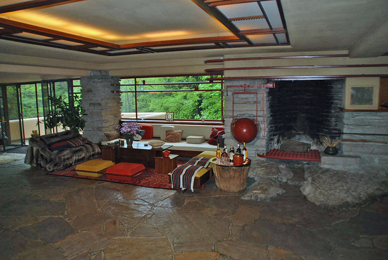 A living room seating area and fireplace.