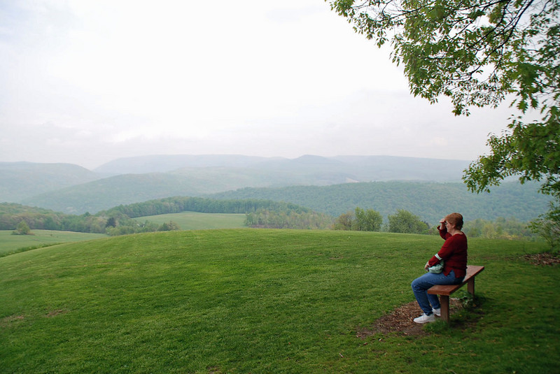 The Hagan's originally wanted Kentuck Knob to be built at the peak of this hill behind the house because of the view, but Frank Lloyd Wright refused.