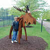 Jean poses next to a moose at Nemacolin zoo.