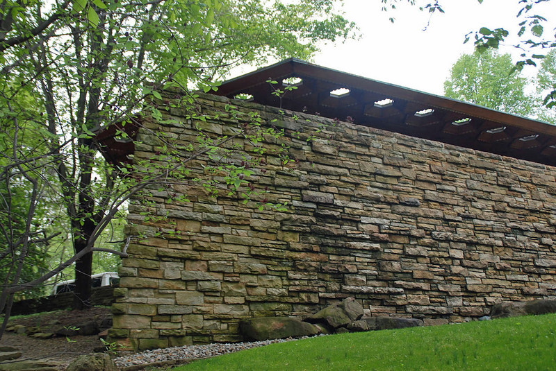 """Kentuck Knob seen from the """"bow of the ship"""" and showing the hexagonal skylights built into the patio roof."""
