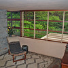 The guest room on the second level.  Mrs. Kaufmann added venetian blinds for privacy over Frank Lloyd Wright's objections.