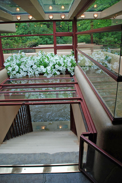 The staircase down to the stream with some of the glass panels rolled back.