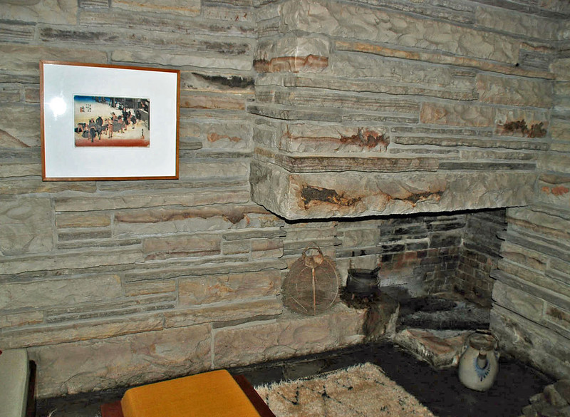 The fireplace at the Fallingwater guest house.