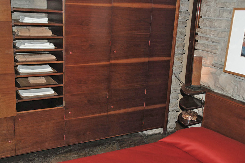 Mr. Kaufmann's bedroom/study showing details of the cedar-lined closet.