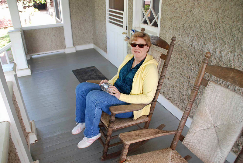 Jean on the front porch of the Outdoor Center before our segway tour.