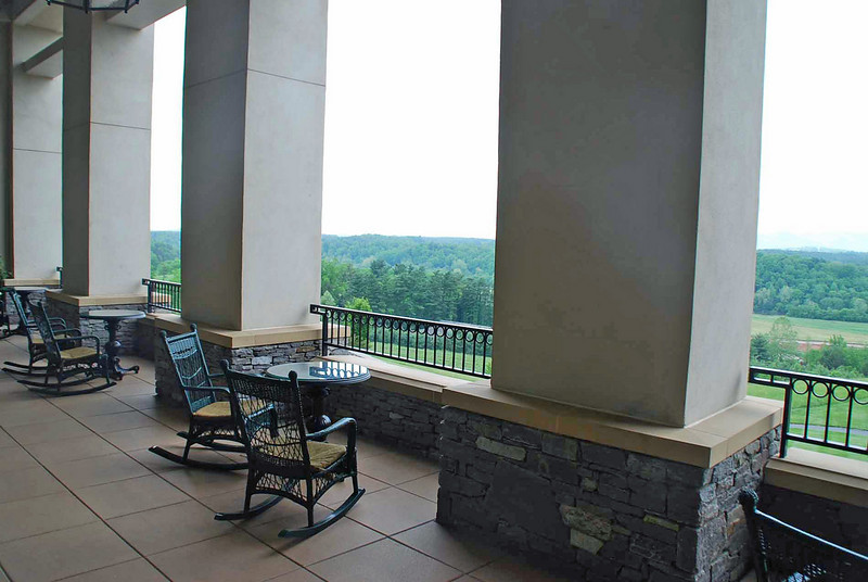 The bar balcony overlooking the mountain view at the Inn on Biltmore Estate.
