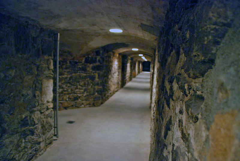 The underground storage areas at the winery on Biltmore Estate.