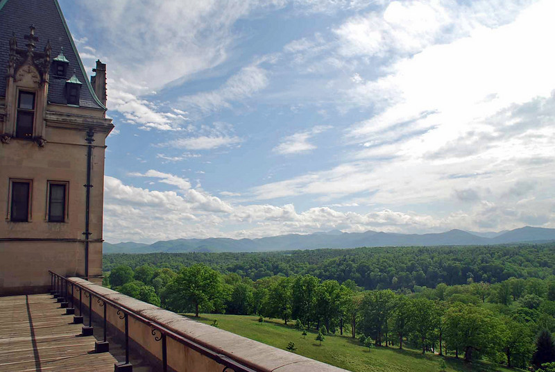 The view from a house balcony on the Biltmore Estate.