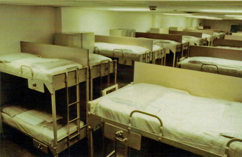 "Greenbrier Postcard: ""Original bunk beds in one of eighteen dormitories in the former emergency relocation facility for Congress located at The Greenbrier."""