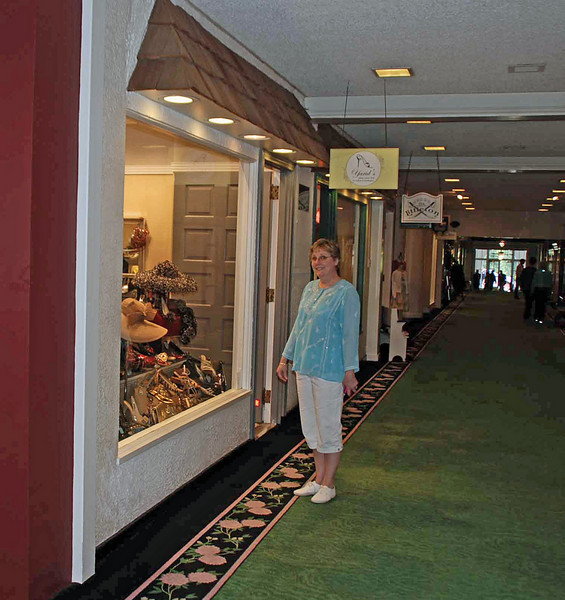 Jean window shopping at the Greenbrier.