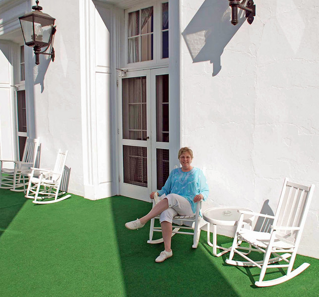 Jean relaxing on a porch at the Greenbrier.