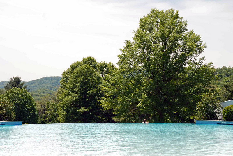 The infinity edge outdoor pool at the Greenbrier.