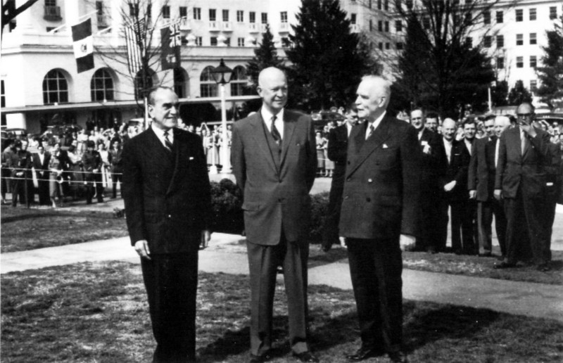 """Greenbrier Postcard: """"Mexican President Cortines, President Eisenhower, and Canadian Prime Minister St. Laurent pictured at The Greenbrier for the North American Summit Conference Meeting, March 26, 1956.  Under the cover of this meeting, U.S. government officials reached an agreement to proceed with the emergency relocation facility for Congress."""""""