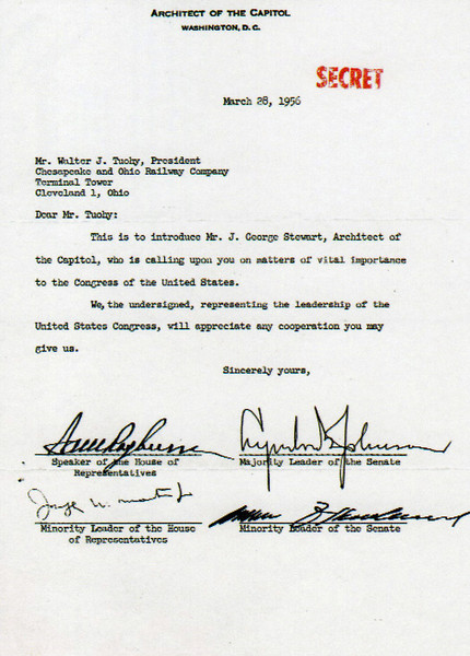 """Greenbrier Postcard: """"The only written documentation connecting Congress to the bunker project at The Greenbrier.  Although the letter seems quite vague, for all practical purposes, this was the Congressional leadership's formal authorization."""""""