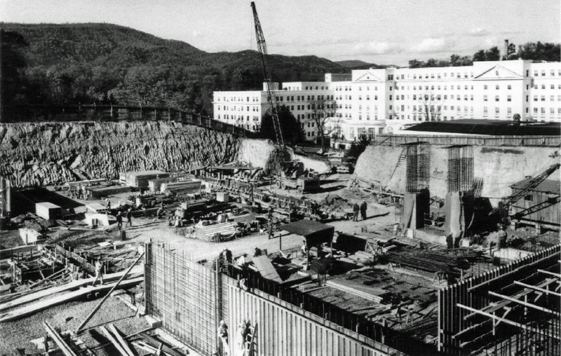 """Greenbrier Postcard: """"Formerly classified construction photograph of the bunker (1960).  This section of the bunker was utilized as the Exhibit Hall of the Greenbrier."""""""