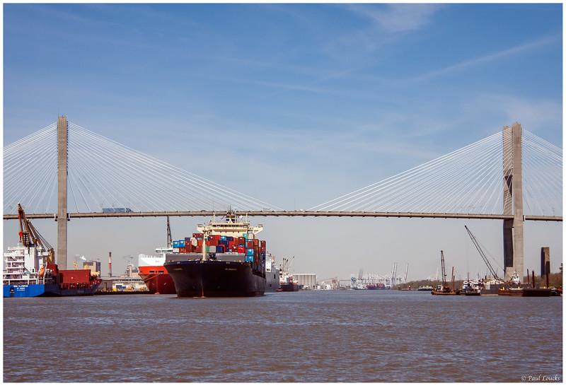 VM Singapore passing under the Talmadge Bridge