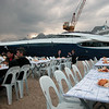 The party, with in the background M/Y Clarity.