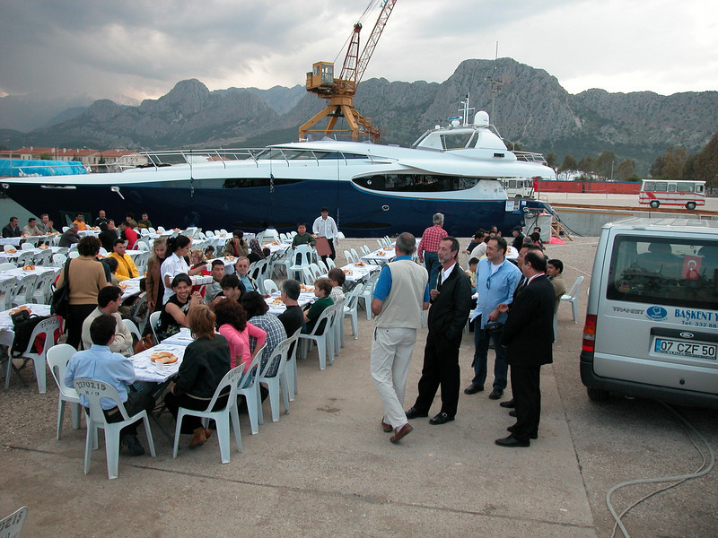 Next to car: the guy in the white trousers and the guy next to him are 'The Management' of the Leigh Nautica shipyard... 'Da Suits are cumming'