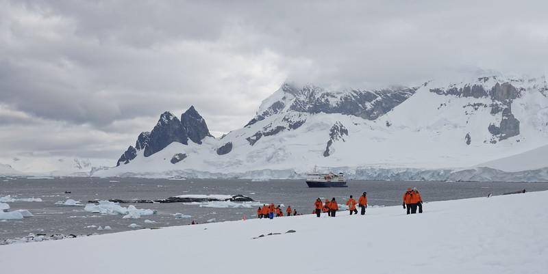 """December 12, 2017.  We traveled by Zodiac boat from the National Geographic Explorer to Danco Island where we """"post-hole"""" hiked to see gentoo penguin colonies and overlook of the bay."""