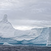 "Another view of the ""Hershey's kiss"" iceberg showing details of the extremely compressed and eroded ice comprising this tabular iceberg."