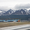 Ushuaia, Argentina airport  - near  the end of the Andes Mountain range.<br /> December 8, 2017