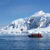 "Zodiacs enjoying the beautiful scenery while cruising among the ""bergy bits"" and ice floes in Paradise Bay.  Air temperature reached about 50º F but water about 28ºF !<br /> December 13, 2017."