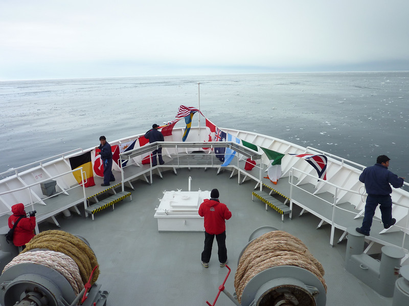 Setting up for our crossing of the Antarctic Circle