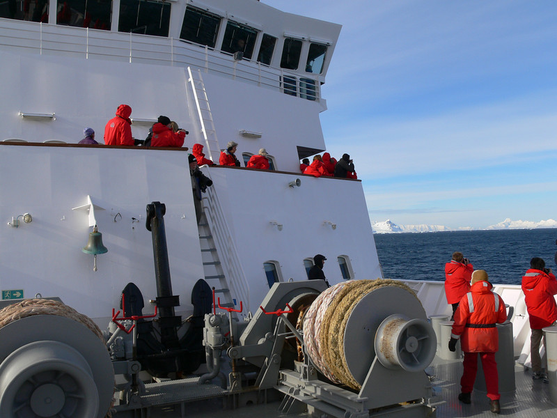The bow of the ship after whales have been sighted