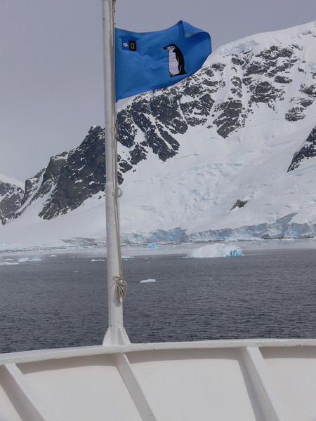 The penguin flag at the bow of the ship